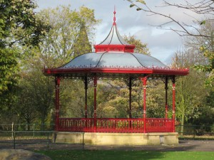 Broadfield Park, Rochdale, bandstand restored by Friends group