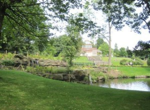Mesnes Park Wigan: the wonderful pavilion seen beyond the restored Pulhamite rockwork and cascade.