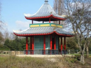 The reinstated pagoda in Victoria Park, London - beautifully useless and just the ornamental flourish every park should have